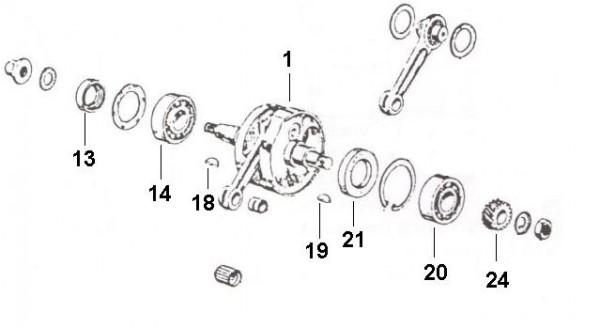 Motor Kurbelwelle - Ape 50ccm 2T AC 1969-1971 TL1T