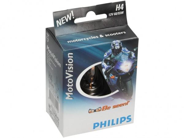 Philips Leuchtmittel, Glühlampe, H4, MV Moto +40% mehr Licht, 12 V, 60/55 W, P43t