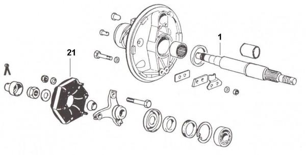 Radaufhängung Hinterachsantrieb - Ape 422ccm 4T AC 1988- AFD4T