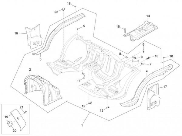 Fahrgestell Bodenpaneel vorn - Porter Maxxi D120 Diesel 1200ccm 4T LC 2011- ZAPS90DK