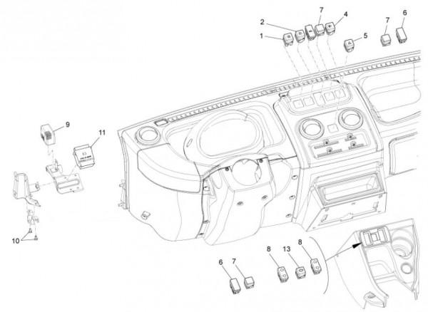 Elektrische Anlage Schalter - Porter Maxxi D120 Diesel 1200ccm 4T LC 2011- ZAPS90DK
