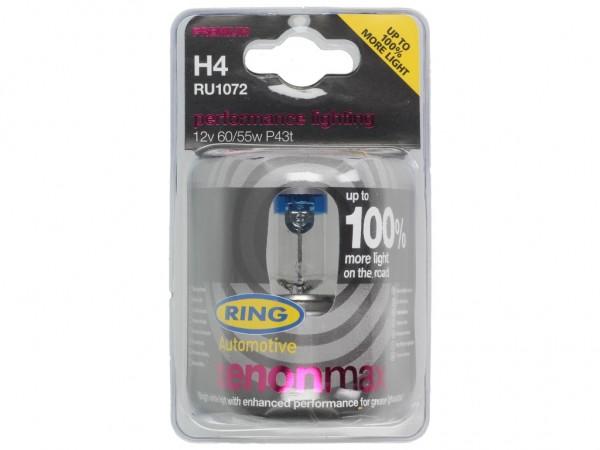 Ring Leuchtmittel, Glühlampe, H4, +100% mehr Licht, 12 V, 60/55 W, P43t
