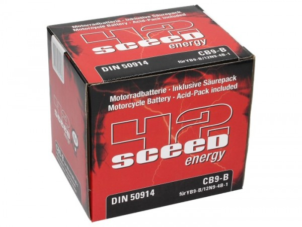 Sceed 42 Energy Batterie YB9-B, 12 V, 9 A, standard, TOP PREIS-TOP QUALITÄT CB9B/12N9-4B-1, inkl.Säu