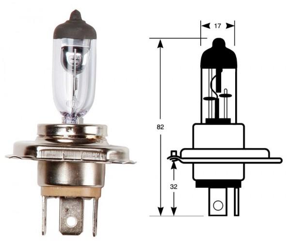 Ring Leuchtmittel, Glühlampe, H4, Blisterverpackung 1 Stück, 12 V, 60/55 W, P43t