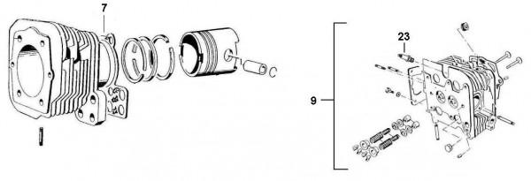 Motor Zylinder - Ape 422ccm 4T AC 1988- AFD4T