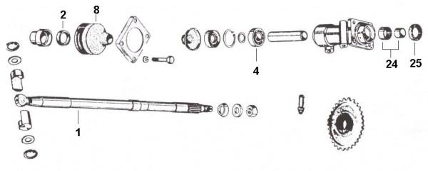 Radaufhängung Achswelle - Ape 50ccm 2T AC 1969-1971 TL1T