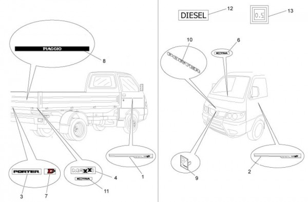 Fahrgestell Dekore - Porter Maxxi D120 Diesel 1200ccm 4T LC 2011- ZAPS90DK