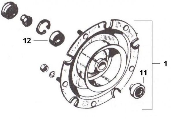 Radaufhängung Bremstrommel vorn - Ape 50ccm 2T AC 1969-1971 TL1T
